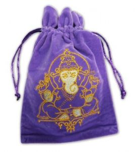 Velvet Tarot Card Bag: Purple with Ganesh design